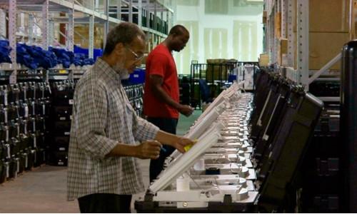 Two men voting